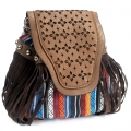 Italian Style Handbag - chocolate Stripy With Fringe