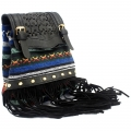 Italian Style Handbag - black Stripy With Fringe