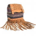 Italian Style Handbag - Light Brown Stripy With Fringe