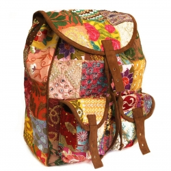 Patchwork & Brown Velvet Suede Style - Backpacks